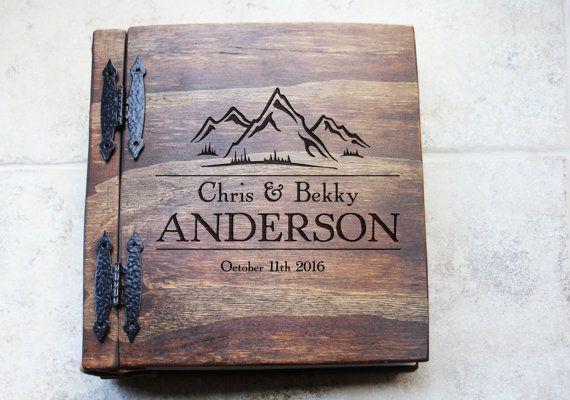 Unique Wood Wedding Photo Album, Monogrammed Personalize Wedding Album w/ Mountain, Custom Personalize Wood Book, Unique Wood Book Gift Idea