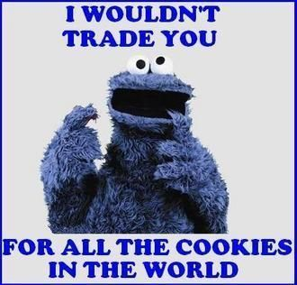 I Wouldn't trade you for all the cookies in the world #cute #cookiemonster #sesamest