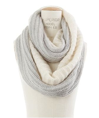 white and grey infinity scarf