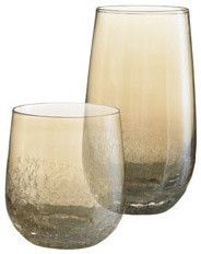 Amber Crackle Tumblers - modern - cups and glassware - Pier 1 Imports