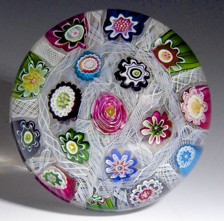 """Clichy {France} paperweight - Chequer upset muslin with 17 lovely canes including famous Clichy rose. 1846-50, 3 1/10""""w x 2 1/5""""t, 22.5 oz. - # 0619"""