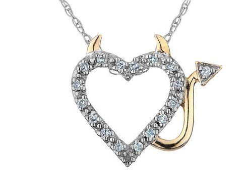 Diamond Devil Heart Pendant Necklace in Sterling Silver with Yellow Gold with Chain MyJewelryBox. $39.99. Free Signature MyJewelryBox Gift Box. If you are not completely satisfied, you can return any order for refund or exchange within 30 days from the date of shipment - shop with confidence!