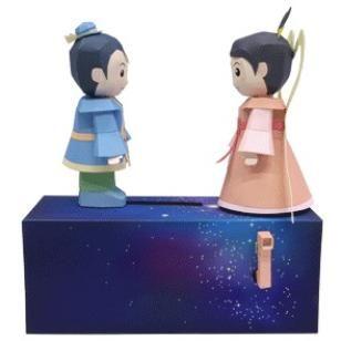 Orihime und Hikoboshi,Spielzeuge,Papiermodelle,Sommer,Asien / Ozeanien,Sternenfest,Im japanischen Stil,Hikoboshi,Orihime,Mechanismus,Bouger,Milchstraße
