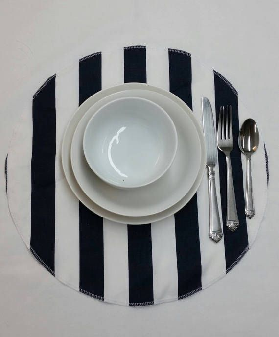 Set Of 4 Black And White Stripe Placemats Table Centerpiece Etsy Placemats Patterned Throw Pillows Decor