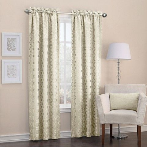 Sun Zero Viviana Woven Trellis Thermal Insulated Rod Pocket Curtain Panel