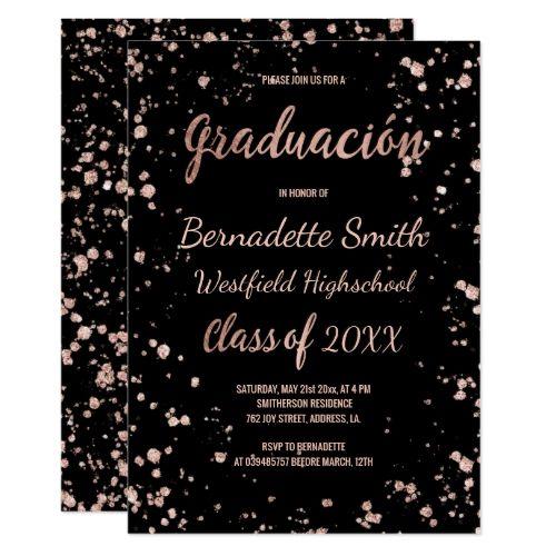 Faux rose gold confetti graduation spanish card