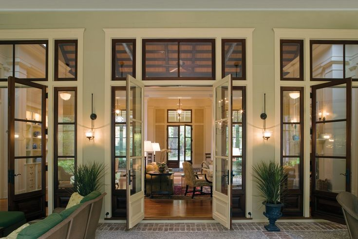 """Want these doors with transoms!    Our clients at Historical Concepts mastered the combination of Southern Vernacular and Caribbean architecture in this """"Among the Oaks"""" home in Spring Island, South Carolina.   Read and see more pictures on our blog: http://www.eberlycollardpr.blogspot.com/"""