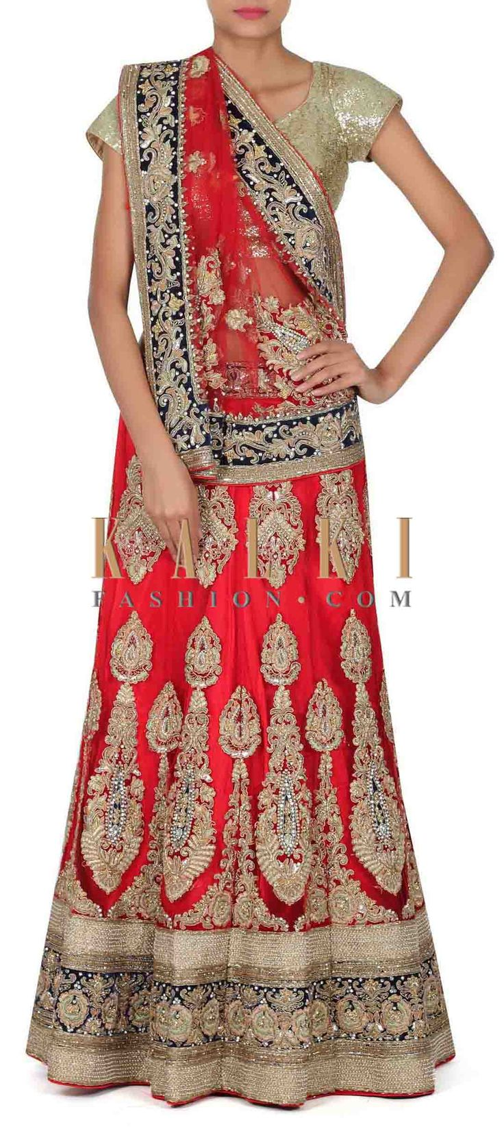 Buy this Red semi stitched lehenga adorn in zardosi and sequin only on Kalki