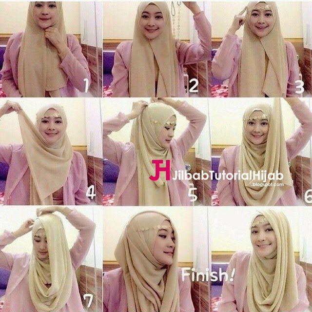 Kumpulan Gambar Tutorial Cara Memakai Hijab pesta glamour terbaru dengan headpiece