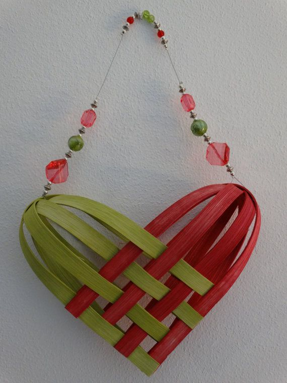 Woven Heart Basket Craft : Hand woven basket in bright pink and chartreuse with