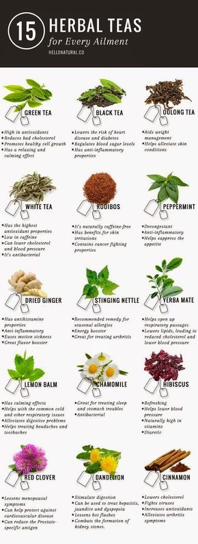 Green tea is not the only tea with promising (and according to many sources, PROVEN) health benefits.  This infographic illustrates and describes 14 other healing herbal teas.
