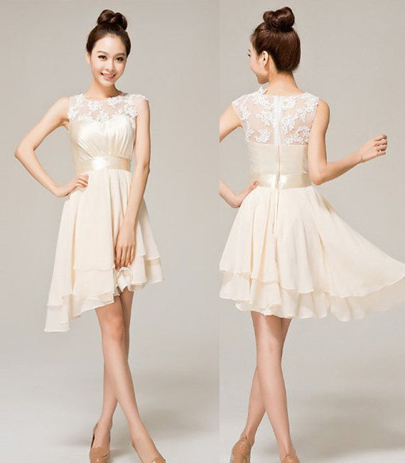 Ivory short lace prom dress beige a line princess straps for Short ivory wedding dress