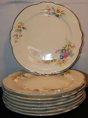Homer Laughlin Dessert Plates (Vintage Rose Pattern in Eggshell) 8 quantity provided by Honeysuckle Wedding Company.