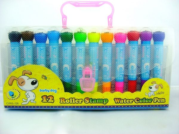 Roller Stamp Color Pen (12pc) - Not just any ordinary color pens but pens with attached unique designs roller inks for additional decorative or   creative touch to your usual pen colors.