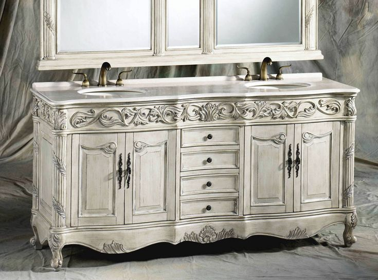 Antique White Wooden Chest Vanity With Matching Double Wall Mirrors And  Ferrari Double Sinks Style Also White Marble Countertops For Bathroom  Furniture ...