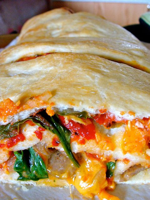 Sausage, Roasted Red Pepper, and Spinach Stromboli