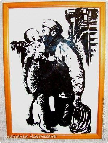 Картина панно рисунок День Победы Здравствуй сынок  Акварель