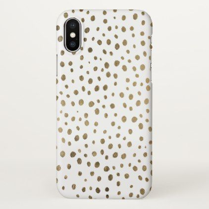 Modern stylish hand drawn gold polka dots iPhone x case - girly gifts special unique gift idea custom