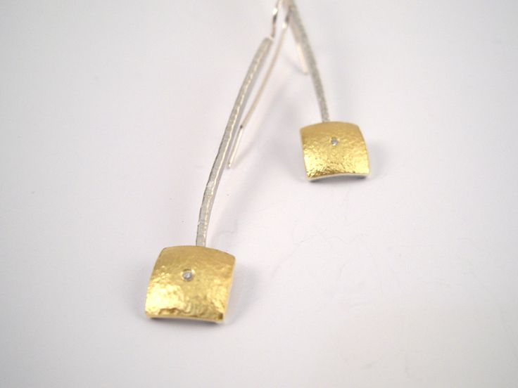 Hammered gold and silver modern square earrings decorated with a diamond and a rough surface. by TomisCraft on Etsy