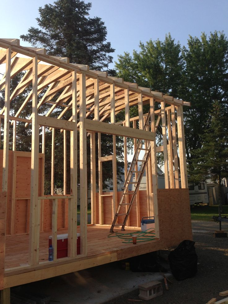 Framing Blocking And Exterior Plywood Going Up Plywoodtiny Houseexterior