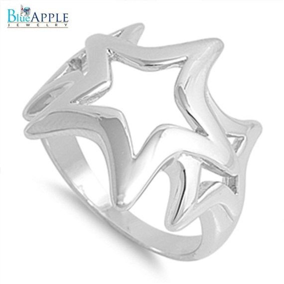 Open Cut Sideways 3 Stars Lucky Winner Band in Solid 925 Sterling Silver Silver Plain Star Charm Ring Love Hope Peace Success Gift