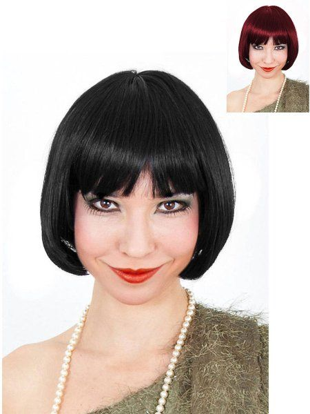 Per/ücke 20s Girl mit Stirnband schwarz