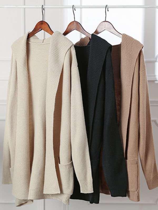 ファッションカジュアル全3色ゆったりフード付きポケット付きニット無地カーディガン - レディースファッション激安通販|20代·30代·40代ファッション