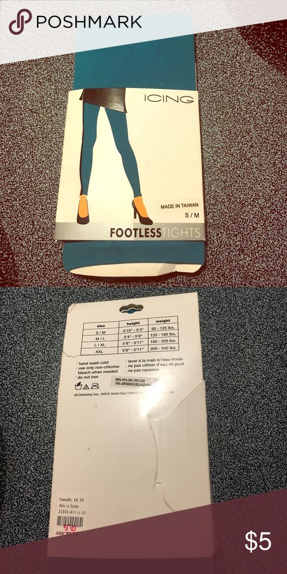 Teal footless tights Teal footless tights. I bought them for specific outfit, and never ended up wearing them. Icing Accessories Hosiery & Socks