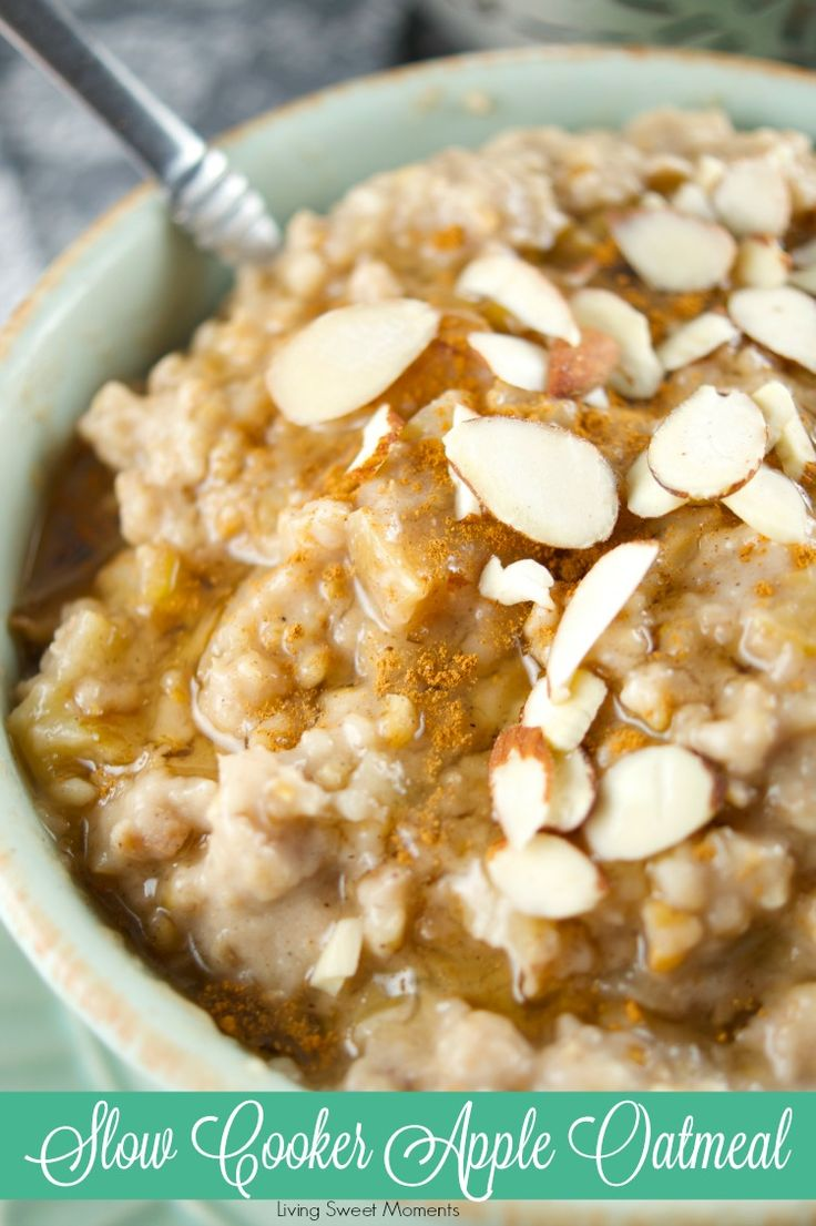 This delicious Slow Cooker Apple Oatmeal Recipe cooks overnight. It's vegan, healthy and full of flavor. Wake up to a hot bowl of apple pie oatmeal full of spice. The perfect breakfast for winter. More on livingsweetmoments.com