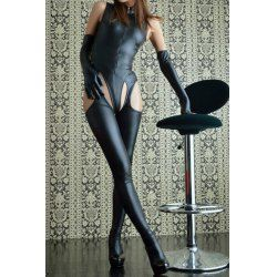 Sexy Stand Collar Solid Color Faux Leather Costume For Women - I like this. Do you think I should buy it?