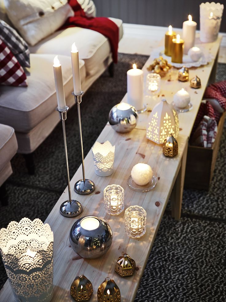 Mix and match candles and lanterns for a seasonal