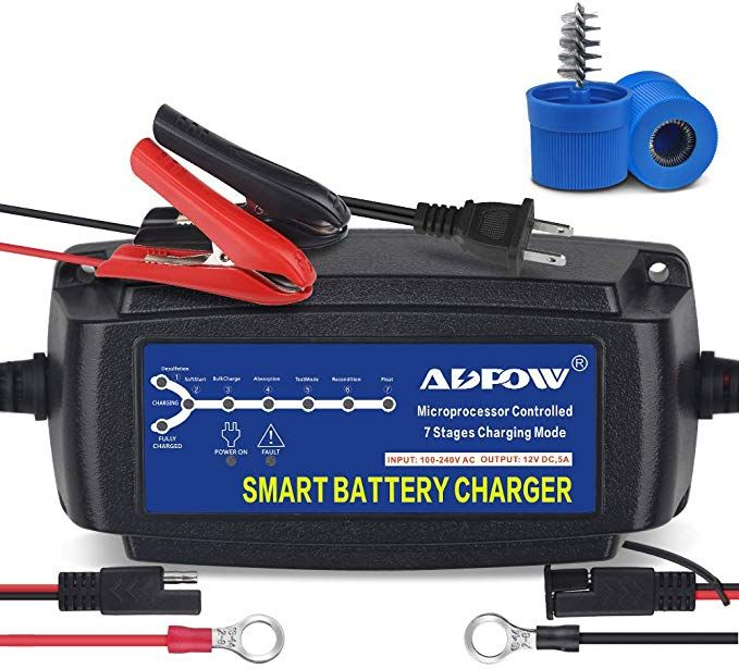 Adpow 5a 12v Automatic Smart Battery Charger Automotive Maintainer 7 Stages Trickle Charger For Deep Cycle Ba Deep Cycle Battery Battery Charger Trolling Motor