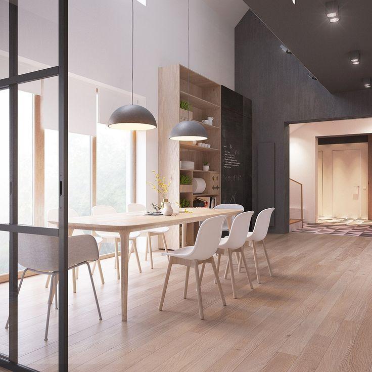 Sedie bianche legno che impostano un'efficace cornice per il tavola scandinavo
