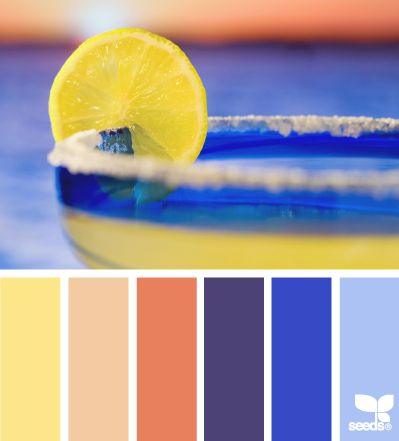 yellow coral blue
