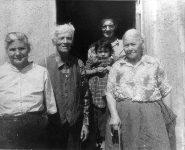 Left to Right: Aunt Elizabeth Large, nimosōm William Half, Louise's father Adolphus Half and nōhkum Adeliene Half