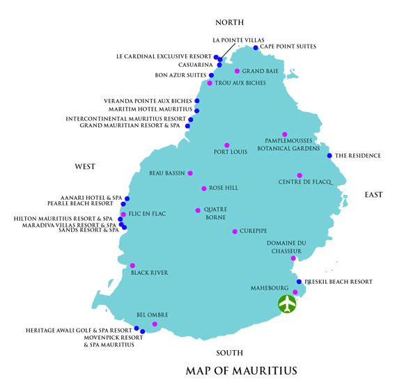 Map of Mauritius Hotels