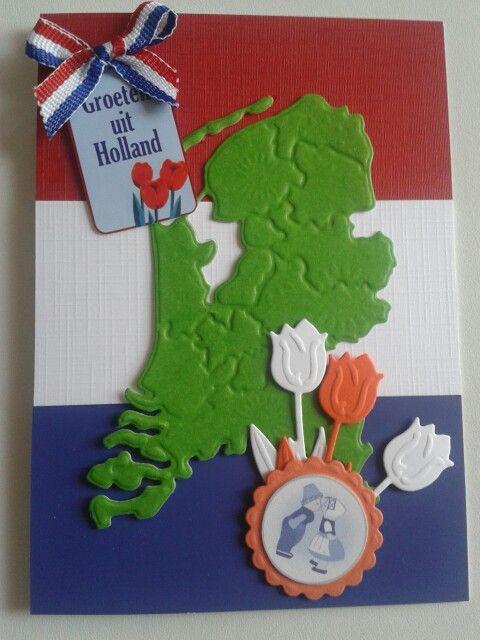Kaart met label groeten uit holland...rood wit blauwe vlag als achtergrond en dan nederland van md mal...beetje versieren...