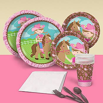 Create the perfect party for your little cowgirl with our Cowgirl Cutie Basic Party Pack. This party pack is printed with images of a young girl and her horse.
