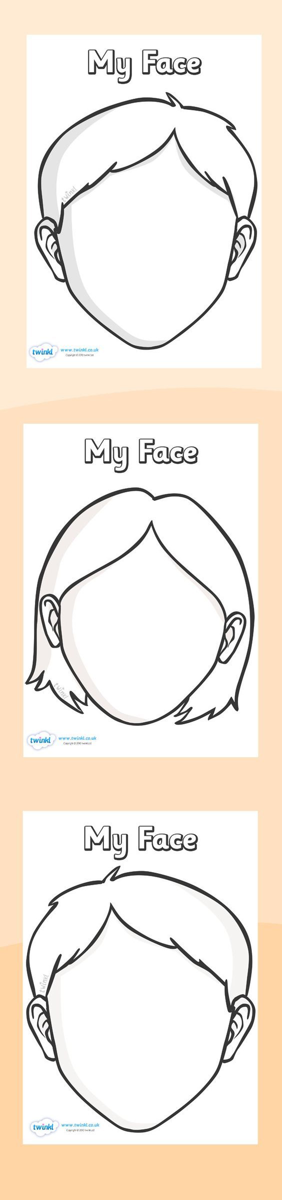 Twinkl Resources >> Blank Face Templates with Face Features >> Printable resources for Primary, EYFS, KS1 and SEN.  Thousands of classroom displays and teaching aids! Topics, Ourselves, Face, Templates, Features: