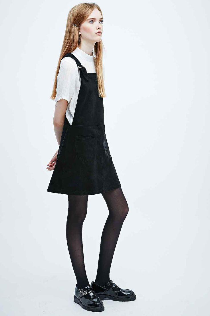 Cooperative Corduroy Dungaree Dress in Black - Urban Outfitters