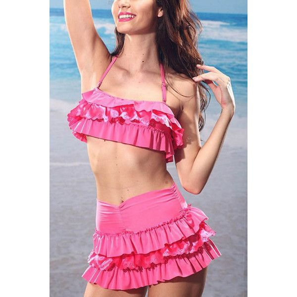 Pink High Waisted Tiered Halter Two Piece Swimsuit ($23) ❤ liked on Polyvore featuring swimwear, bikinis, pink, high waisted swim suit, high waisted bikini, 2 piece bathing suits, two piece bathing suits i pink high waisted bikini