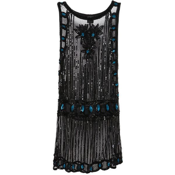 Sequin Tabard Dress - Dresses - Kate Moss - Topshop ($156) ❤ liked on Polyvore featuring dresses, vestidos, flapper, black, flapper style dress, flapper cocktail dress, gatsby dress, sequin embellished dress and flapper style cocktail dress