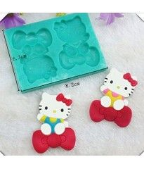 Yunko Two Kitty Bow Shape Silicone Fondant Cake Decorating Tools Chocolate Candy Mold