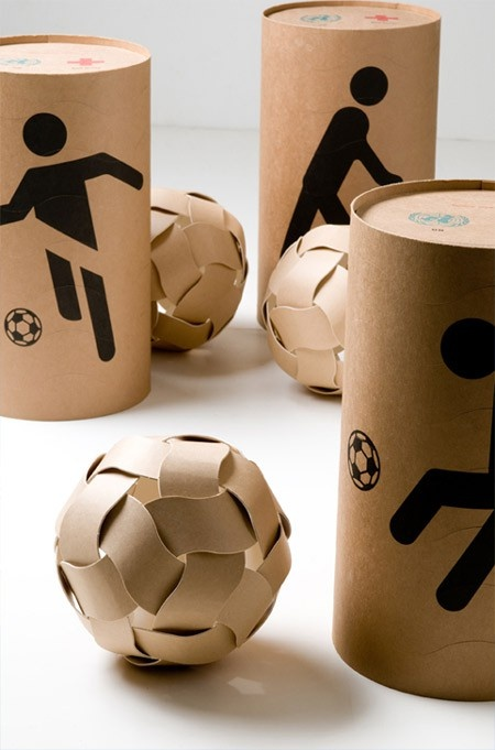 An aid package that can be made into a football by children in developing countries.