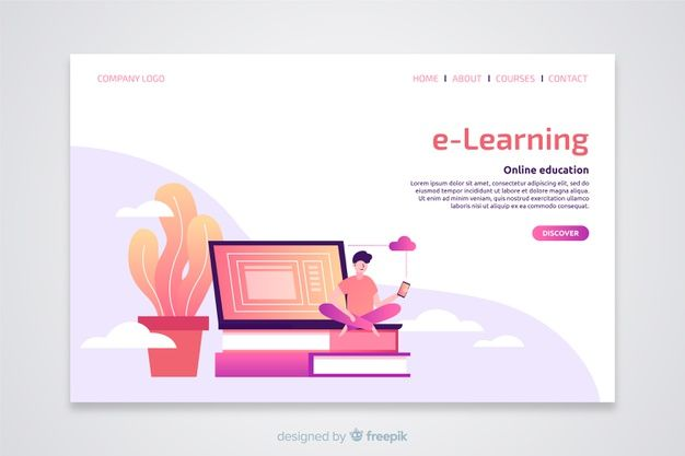 Download E Learning Concept Flat Landing Page For Free Learning