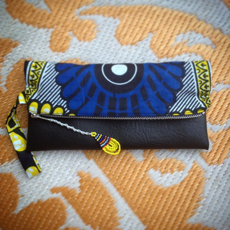 Fold Over Clutch Bag - Blue+Yellow African Makoti Wax Print with Black Faux Leather Trim - Bridesmaid's Gift - (BYBL3) by ChangNoii on Etsy