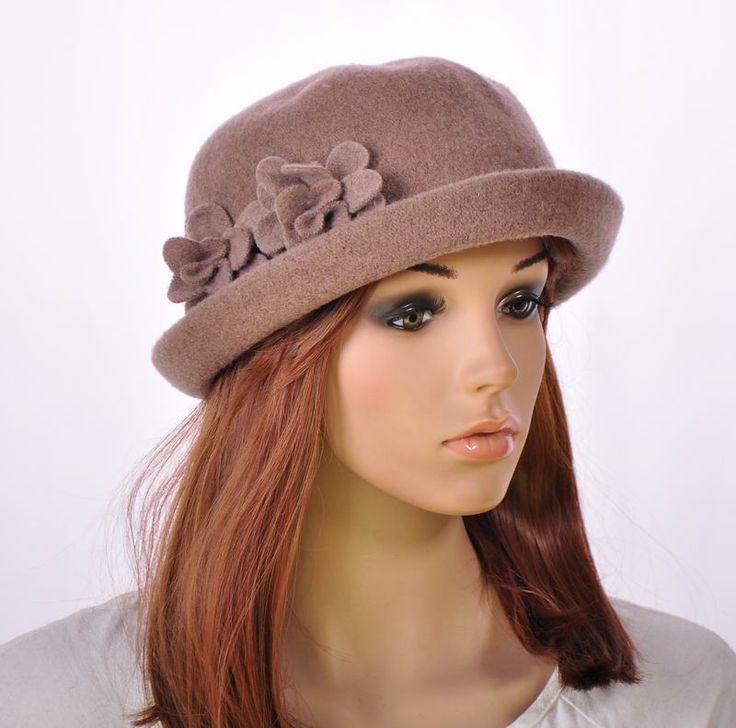 M151 Khaki Warm Wool Women's Winter Hat Beanie Bucket Cap Cute Dual Flowers #Bucket