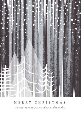 """Snowfall"" - Bohemian, Vintage Holiday Cards in Night by Baumbirdy."