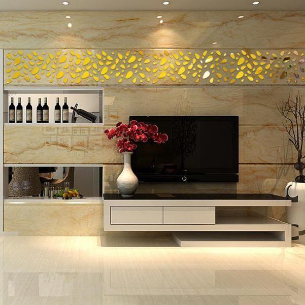 12Pcs 3D Mirror Vinyl Removable Wall Sticker Decal Home Decor Art DIY Gold Hot #B2CCN