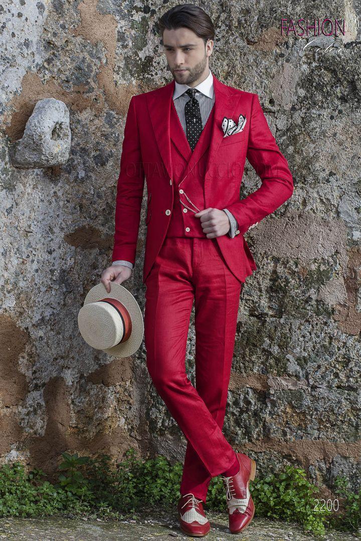Abito Matrimonio Uomo Rosso : Abito moda sposo per matrimonio estivo puro lino rosso moda uomo